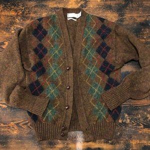 "Vintage wool ""grandpa"" argyle cardigan"